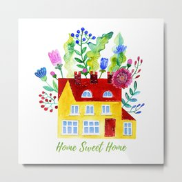 Home Sweet Home. Watercolor illustration Metal Print