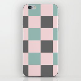 Contemporary Mint Pink Gray Gingham Pattern - Mix and Match iPhone Skin
