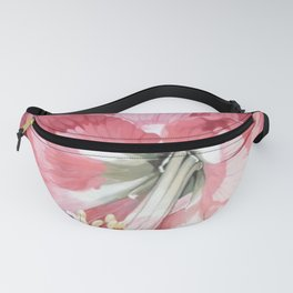 Pink Amaryllis Watercolor Botanical Garden Flower Painting Nature Art Fanny Pack