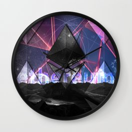 Ethereum Moon and Stars landscape Wall Clock
