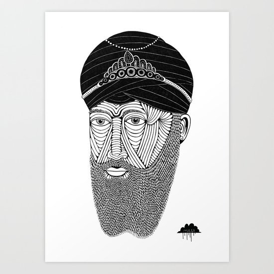 Sikh Guru with Fully Sick Beard and Bejeweled Turban Art Print
