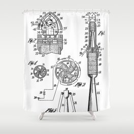 Rocket Ship Patent - Nasa Rocketship Art - Black And White Shower Curtain