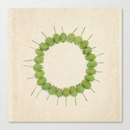 Green Wildflower Circle on Vintage Paper Canvas Print