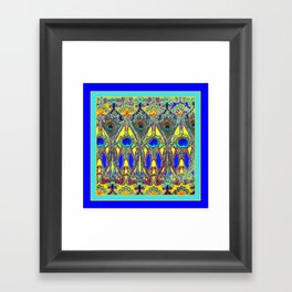 Decorative Blue Peacock Art Nouveau Themed Design Framed Art Print
