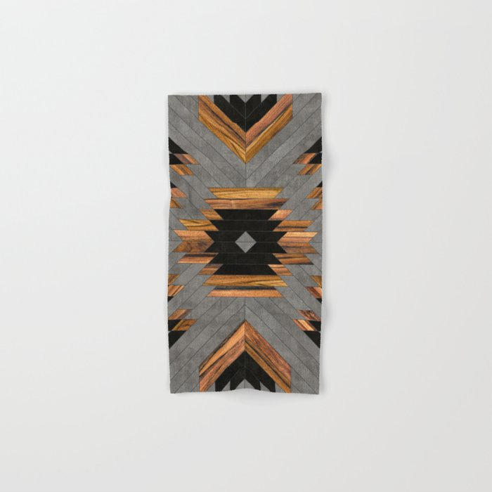 Urban Tribal Pattern No.6 - Aztec - Concrete and Wood Hand & Bath Towel