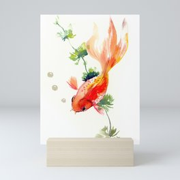 Goldfish, aquarium fish art, design watercolor fish painting Mini Art Print