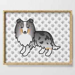 Blue Merle Shetland Sheepdog Dog Cartoon Illustration Serving Tray