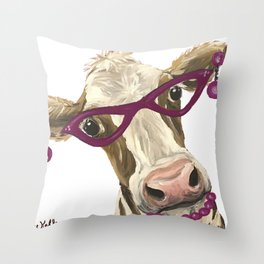 Cute Glasses Cow, Unique Cow Art Throw Pillow
