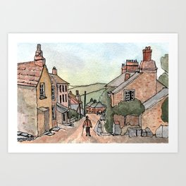 Boscastle Cornwall England Watercolour Print Art Print