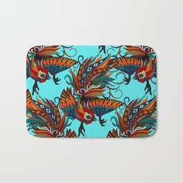 rooster ink turquoise Bath Mat