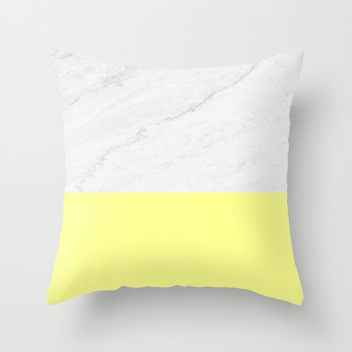 Marble and Yellow Throw Pillow