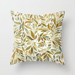 Leafy Brown Throw Pillow