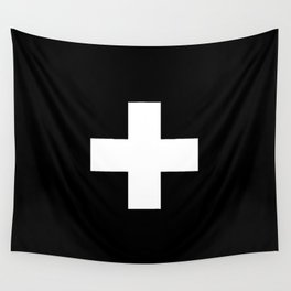 Swiss Cross Black and White Scandinavian Design for minimalism home room wall decor art apartment Wall Tapestry