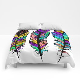 Colorful Abstract  Tribal Feathers Illustration Comforters