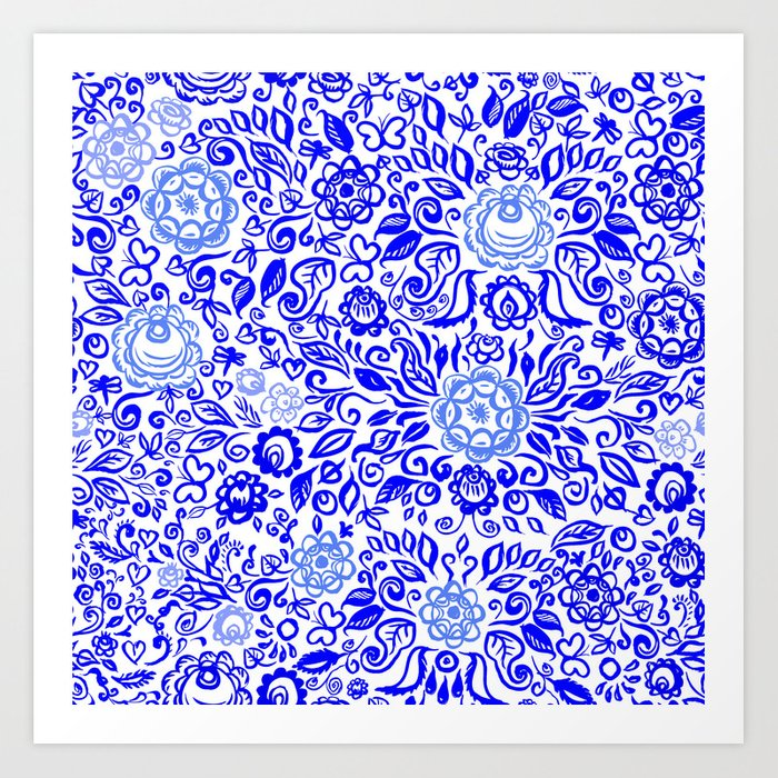 Beautiful Folk Art Floral Ornament With Blue Flowers On White Background Art Print By Ekaterinap
