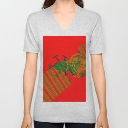 Explorer Schematic Warped Green on Red Unisex V-Neck