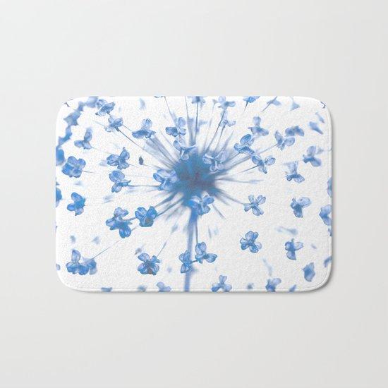 Flower Ball in Baby Blue Bath Mat