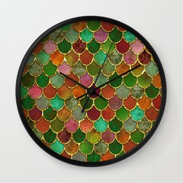 Greens & Gold Mermaid Scales Wall Clock