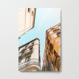 El Raval Gothic Quarter, City Of Barcelona Poster, Buildings Architecture Print, Spain Perspective View, Low Angle View Urban Barcelona City Print, Travel Print Metal Print