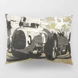 Race car number five, newspaper art collage, Gift For Dad, Gift For Him Pillow Sham