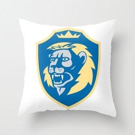 Angry Lion Head Roar Shield Retro Throw Pillow