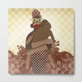 Sock Monkey Mother and Child Metal Print