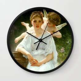 "William-Adolphe Bouguereau ""Les murmures de l'Amour (Whisperings of Love)"" Wall Clock"