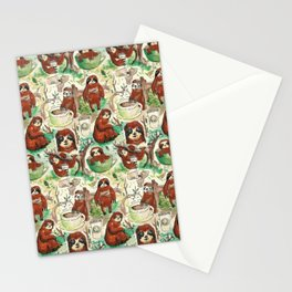sloth in coffee pattern Stationery Cards