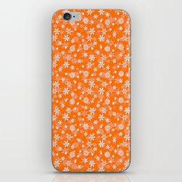 Festive Turmeric Orange and White Christmas Holiday Snowflakes iPhone Skin