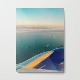 Horizon Line with Boats in the Sea Metal Print