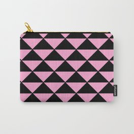 Graphic Geometric Pattern Minimal 2 Tone Infinity Triangles (Pastel Pink & Black) Carry-All Pouch