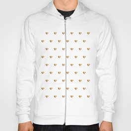 Small gold hearts pattern on white Hoody