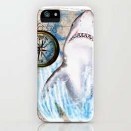 Great White Shark Compass Vintage Map iPhone Case