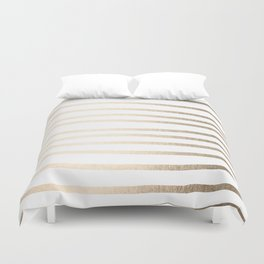 Simply Drawn Stripes in White Gold Sands Duvet Cover