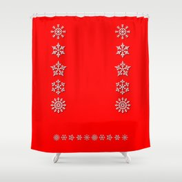 Five Different White Snowflakes in a Row on a Red Background Shower Curtain