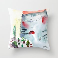 cactus addict Throw Pillow