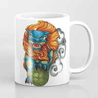 foo fighters Mugs featuring Foo Dog by missfortunetattoo