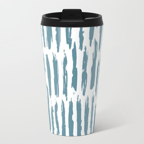 Vertical Dash Teal on White Metal Travel Mug