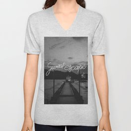Sweet Escape (Black and White) Unisex V-Neck