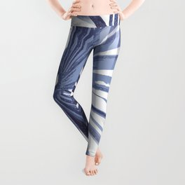 Pale Blue Violet Tropical Beach Palm Fan Vector Leggings