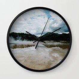 New-Zealand, Rotorua - Wai-O-Tapu park - Sulphur lake & mountains Wall Clock