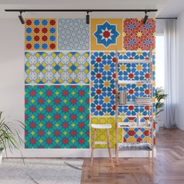 Moroccan pattern, Morocco. Patchwork mosaic with traditional folk geometric ornament. Tribal orienta Wall Mural