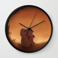 moustache Wall Clocks featuring Moustache by Ramona Treffers