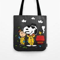 peanuts Tote Bags featuring Breaking Peanuts by Maioriz Home