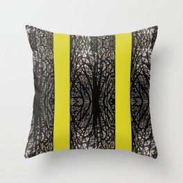 Gothic tree striped pattern mustard yellow Throw Pillow