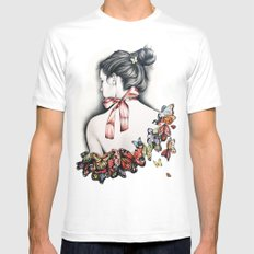 L'effet papillon White Mens Fitted Tee MEDIUM
