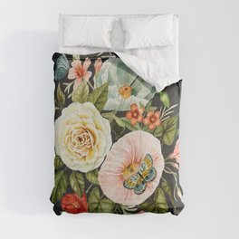 Wildflower and Butterflies Bouquet on Charcoal Black Comforters