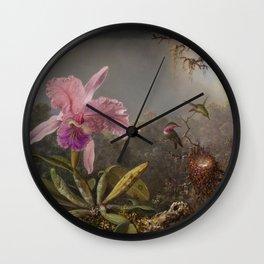 Cattelya Orchid And Three Brazilian Hummingbirds 1 By Martin Johnson Heade | Reproduction Wall Clock
