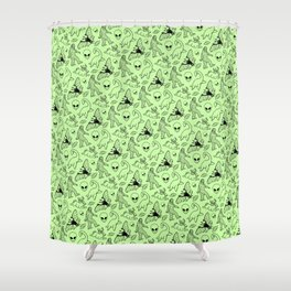 Cryptid Pattern: Black on Green Shower Curtain