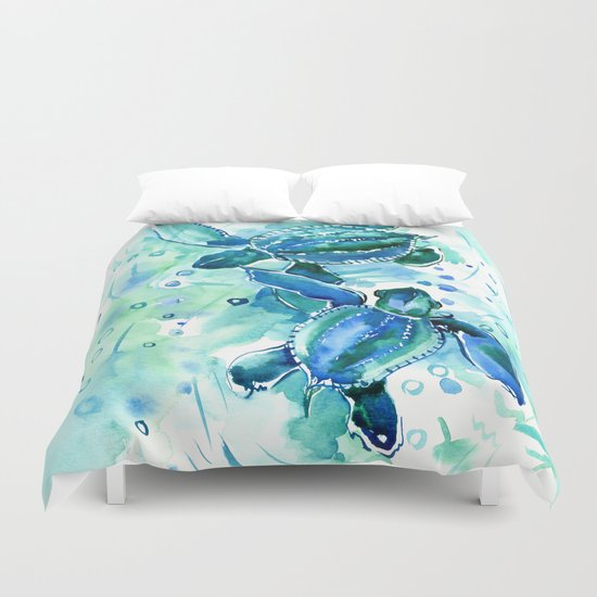 Turquoise Blue Sea Turtles In Ocean Duvet Cover By